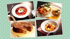 salát z kysaného zelí, maso na medu a zeleninové hranolky