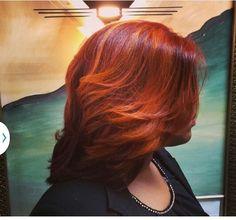 Crimson Red w/ Burnt Orange Highlights #salonchristol
