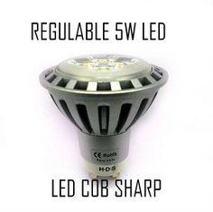 Bombilla Dicroica LED 5W GU10 Halogeno Regulable Led COB Sharp Blanco Natural 4500ºK NOVEDAD
