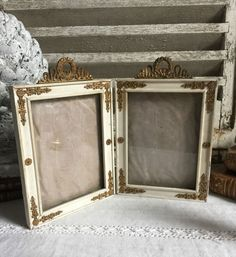 EXQUISITE ANTIQUE FRENCH EMPIRE DOUBLE PHOTO FRAME RIBBON GARLAND c1850