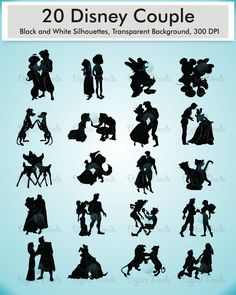 20 Disney Couple Silhouettes Clip art / png and by DigitalNeeds