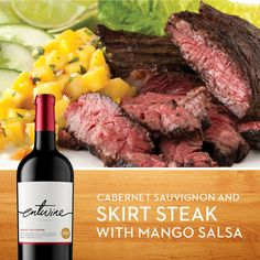 Summer is the ideal time to uncork a juicy pair like our Cabernet and Skirt Steak with Mango Salsa. Check out the recipe on our Facebook page: https://facebook.com/entwinewines
