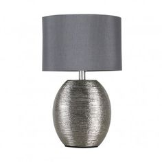 Modern Ceramic Table Lamp In Chrome Finish With Chrome Shade| Iconic Lights