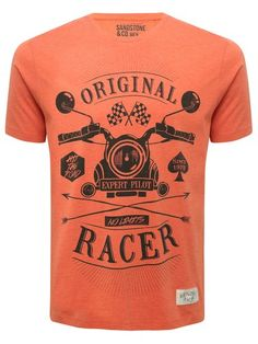 Original Racer Print T-shirt. Race into the new season with this orange crew neck t-shirt with motorcycle print and Orignal Racer slogan.