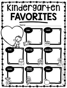 End of the Year Activities Kindergarten Memory Book
