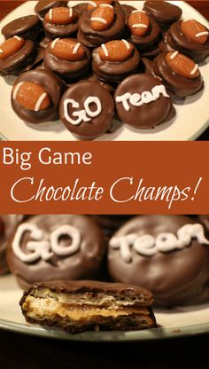 Poster says BEST school treat ever. Kids pick these first. Big Game Chocolate Champs No bake cookies made with Ritz crackers!