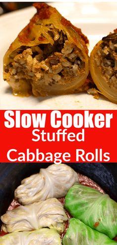 Stuffed Slow Cooker Cabbage Rolls Make Ahead Meal Cooks Slow Cooker, Crock Pot Slow Cooker, Slow Cooker Recipes, Crockpot Recipes, Cooking Recipes, Healthy Recipes, Slow Cooker Cabbage Rolls, Cabbage Rolls Recipe, Cabbage Recipes