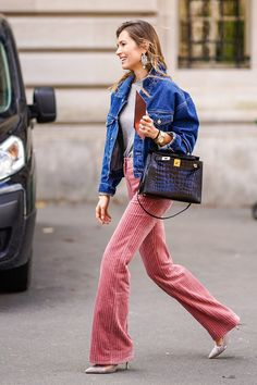 Loving these wide leg pink corduroy trousers paired with this jean jacket! The perfect street style look!