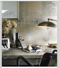Subtle metallic grasscloth wallpaper