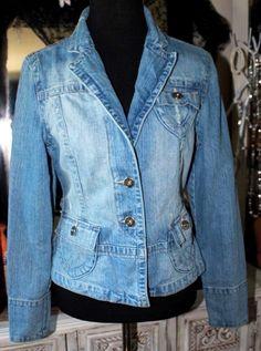 Star Jeans Blue Denim Tailored Jeans Jacket Women Large #StarJeans #JeanJacket