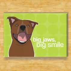Funny Magnet with Pit Bull - Big Jaws Big Smile - Brown Pit Bull Gifts Refrigerator Fridge Dog Funny Magnets