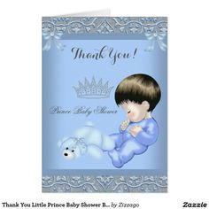 Thank You Little Prince Baby Shower Boy Blue Card