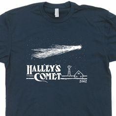 Halley's Comet T Shirt Vintage Retro Asteroids Nasa Astronomy Tee