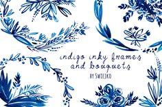 Indigo Hand painted Wreaths by swiejko on Creative Market