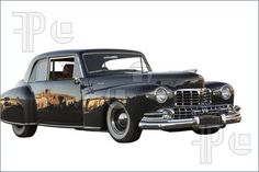 Picture of 1948 Lincoln Continental on a isolated white background.