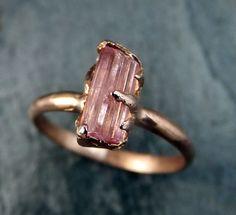 Raw Pink Tourmaline Rose Gold Ring Rough Uncut Pastel Pink Gemstone Promise engagement wedding recycled 14k Size stacking byAngeline
