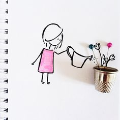 Wallpapers visual art Funny Humour thimble on We Heart It Flower Words, Flower Art, Amazing Drawings, Easy Drawings, Vincent Bal, Arte Floral, Little Doll, Simple Art, Cute Illustration