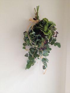 アジサイとユーカリをナチュラルに束ねたスワッグ。ラフィアで結んでいます。もちろん壁に掛けられる様に、裏にフックを付けてあります。花材: アジサイ(ドライ) ...|ハンドメイド、手作り、手仕事品の通販・販売・購入ならCreema。