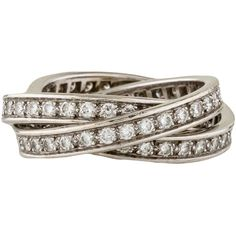 Pre-owned Cartier Trinity Diamond Rolling Rings ($7,495) ❤ liked on Polyvore featuring jewelry, rings, silver, diamond jewelry, pre owned diamond rings, pre owned rings, diamond jewellery and cartier jewelry