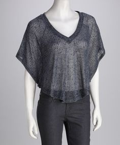 Take a look at this Lily White Blue V-Neck Dolman Top by Lily White & As U Wish on #zulily today!