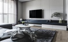 Contemporary Apartment in Taipei. Limited Unlimited is a private home located in Taipei City Taiwan. Completed in 2015 it was designed by Taipei Base Design Center. Stylish Living Room, Apartment Design, Apartment Interior, Contemporary Apartment, Living Room Interior, Interior Design, Living Design, Living Room Designs, Living Room Tv