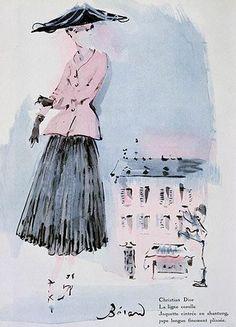 Illustration by Christian Bérard, Christian Dior, French Vogue. Christian Dior, Mode Vintage Illustration, Illustration Art, Fashion Design Sketches, Fashion Drawings, Fashion Illustrations, Trendy Fashion, Vintage Fashion, Arte Fashion