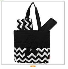 Diaper Bag, Black Chevron 3 Piece Set, Diaper Bag, Changing Mat, Acc. Bag, Monogrammed by StitchedInStyle1 on Etsy