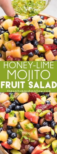 Honey Lime Mojito Fruit Salad: This fruit salad recipe is easy and healthy, perfectly refreshing and makes enough to take for summer parties! Summer fruits topped with the best honey lime mint dressing, that makes it taste like a mojito! Dressing For Fruit Salad, Best Fruit Salad, Summer Salads With Fruit, Fruit Salad Recipes, Fruit Snacks, Mexican Food Recipes, Healthy Recipes, Fruit Cups, Fruit Fruit