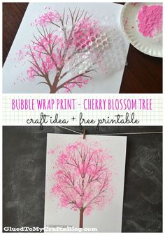 Bubble Wrap Print - Cherry Blossom Tree {w/Free Printable} I love ., Bubble Wrap Print - Cherry Blossom Tree {w/Free Printable} I love Cherry blossom trees and this Bubble Wrap Print is such a cute craft i. Kids Crafts, Cute Crafts, Preschool Crafts, Diy And Crafts, Paper Crafts, Preschool Printables, Recycled Crafts, Creative Crafts, Wood Crafts