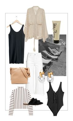 Still in Vacation Mood – but it's easy to get the vibe here in the French Riviera – such an inspiring and beautiful place. On today's menu for the perfect vacay look: a silk kimono wrap blouse, a black swimsuit, flat suede slippers by & OTHER STORIES, a knit by MAJE (perfect for colder summer nights), this bag by THE ROW (not made for the beach, but very stylish for trips to the oldtown) and earrings by ELLERY (to give your beach/pool look an extra glam boost).