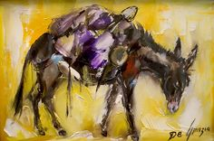 """Mark your calendars; on September 28th, 2013, the Superstition Mountain Museum will have an opening reception for a new exhibit """"DeGrazia's Superstition Collection Comes Home""""! This exhibition of DeGrazia's paintings and drawings depicting Superstition Mountain legends and history will be on display at the Superstition Mountain Museum in Apache Junction, Arizona from Sept. 28, 2013 - April 30, 2014.  """"Pack Mule"""", oil on canvas, 1971."""