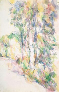 Paul Cézanne - Route avec arbres sur une pente, ca. 1904 -   Road with Trees on a Slope -  Watercolour and pencil on paper, 47.5 x 31 cm