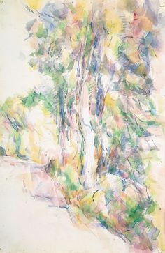 Paul Cézanne - Route avec arbres sur une pente, ca. 1904 -   Road with Trees on a Slope -  Watercolour and pencil on paper, 47.5 x 31 cm