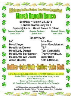 Oklahoma Indian Nation Pow-Wow Committee March Benefit Dance