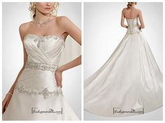 BEAUTIFUL SATIN STRAPLESS A-LINE WEDDING DRESS