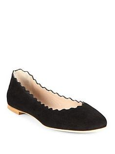 Chloé Scalloped Suede Ballet Flats  Purchased at $173.25 plus tax