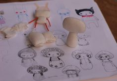 Process shot from Dollitude Dollitude: New Kitties Handmade dolls and thing Tiny Dolls, Soft Dolls, Cute Dolls, Doll Crafts, Cute Crafts, Softies, Art Doll Tutorial, Matchbox Crafts, Tilda Toy