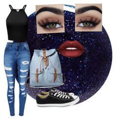 """""""City chic"""" by mjbol ❤ liked on Polyvore featuring Lauren B. Beauty, WithChic, Converse and Lime Crime"""