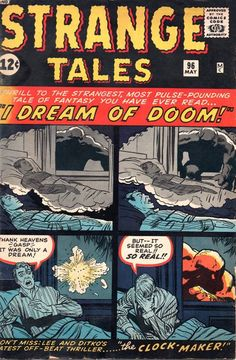 Here's some more monster-size fun from Marvel Comics' Strange Tales . Strange Tales November Cover by Jack Kirby. Old Comic Books, Vintage Comic Books, Vintage Comics, Comic Book Artists, Comic Book Covers, Comic Book Characters, Sci Fi Comics, Horror Comics, Tales To Astonish