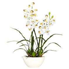 Cymbidium With White Vase Silk Flower Arrangement