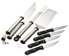 Mr. Bar-B-Q 7-Piece Oval Stainless Steel Handle Tool Set by Mr. Bar-B-Q. $24.99. Tongs, fork, spatula. Dishwasher safe. Durable knive handles. Bottle opener on spatula. 4 large steak knives. Amazon.com                The three tools and four steak knives in this set from Mr. Bar-B-Q's Premium collection are constructed of brightly-polished, commercial-grade stainless steel. Oval-shaped tubular handles attached with heat-resistant material provide a smooth, comfortabl...