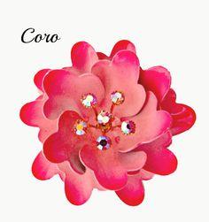 Coro Pink  Flower Brooch with AB Rhinestone by serendipitytreasure