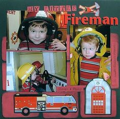 "Quick Scrapbook Page Idea Using 4x6 Photos - Fireman  ""My Little Fireman"" by Jennifer Schmidt uses three 4x6 photos. Three full-size photos easily fit on a 12x12 scrapbook page layout without overcrowding."