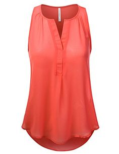 JJ Perfection Women's V-Neck Chiffon Blouse Tank Top TOMA...…