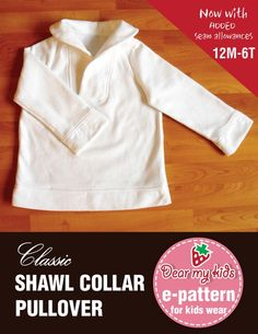 Unisex Shawl Collar Pullover 12 months upto age 6 by dmkeasywear