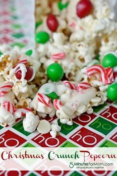 """Christmas Crunch Popcorn on www.5minutesformom"" // THIS STUFF LOOKS DELISH!"