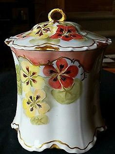 AWESOME-HAVILAND-LIMOGES-RARE-HAND-PAINTED-COVERED-BISCUIT-JAR-PANZY-FLORAL-GOLD