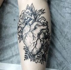 Anatomical heart tattoo with flowers. black and grey fake tattoo sleeves, sleeve tattoos, Fake Tattoo Sleeves, Tattoos For Women Half Sleeve, Forearm Sleeve Tattoos, Full Sleeve Tattoos, Arm Tattoo, Armband Tattoo, Shoulder Tattoos, Thigh Sleeve, Tattoos For Women Flowers