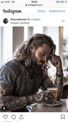 Penny for those deep thoughts! :-) – coiffures et barbe hommes Bart Tattoo, Estilo Hipster, Men Hipster, Bart Styles, Sexy Tattooed Men, Viking Hair, Viking Men, Look Man, Inked Men