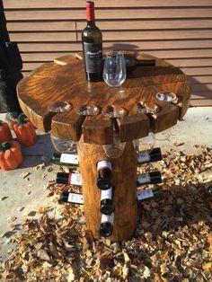 Live Edge Log Wine Table